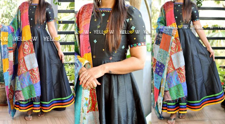 Black raw silk dress with multi colour Kutch work and mirror work teamed up with silk patchwork dupatta .. Kindly write to teamyellow@yellowkurti.com or watsapp at 7995038888 for placing orders !