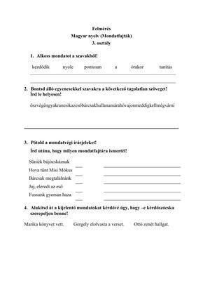 Felmérés 3.4.osztály magyar vegyes