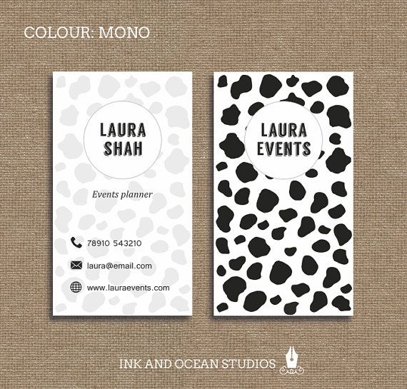 Printable stylish elegant retro, black and white cow animal print business card, calling card for your business