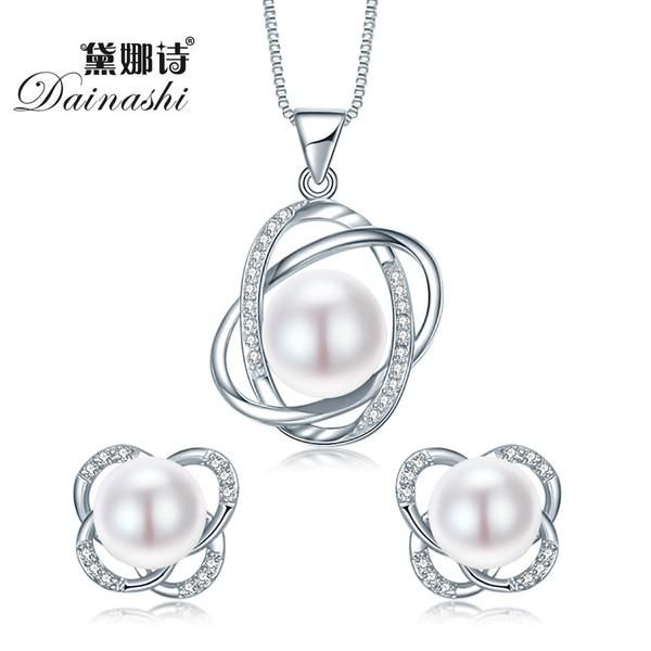 FuzWeb:Top Quality Trendy Cross 925 Sterling Silver Jewelry Sets Pendant Necklace & Earring Big Pearl Pendant Earrings For Women Gift