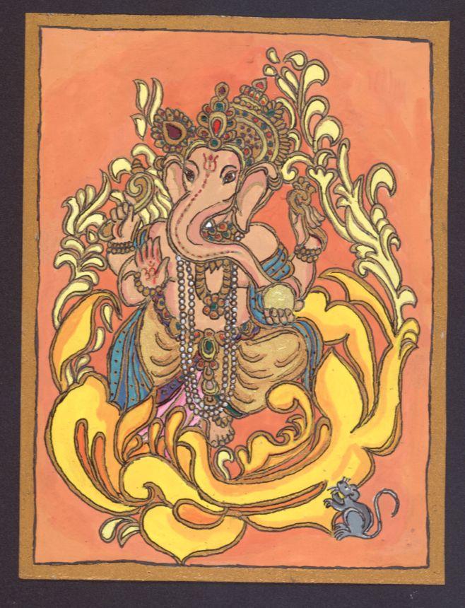 """""""Sárga"""" Ganésa Az elefántfejű, nagy hasú Ganésa a legnépszerűbb hindu istenség, a költők és kereskedők védnöke, jóindulatú segítségével elhárulnak az alkotó, vállalkozásba kezdő ember előtt tornyosuló akadályok. http://terebess.hu/szorolapok/ganesa.html"""