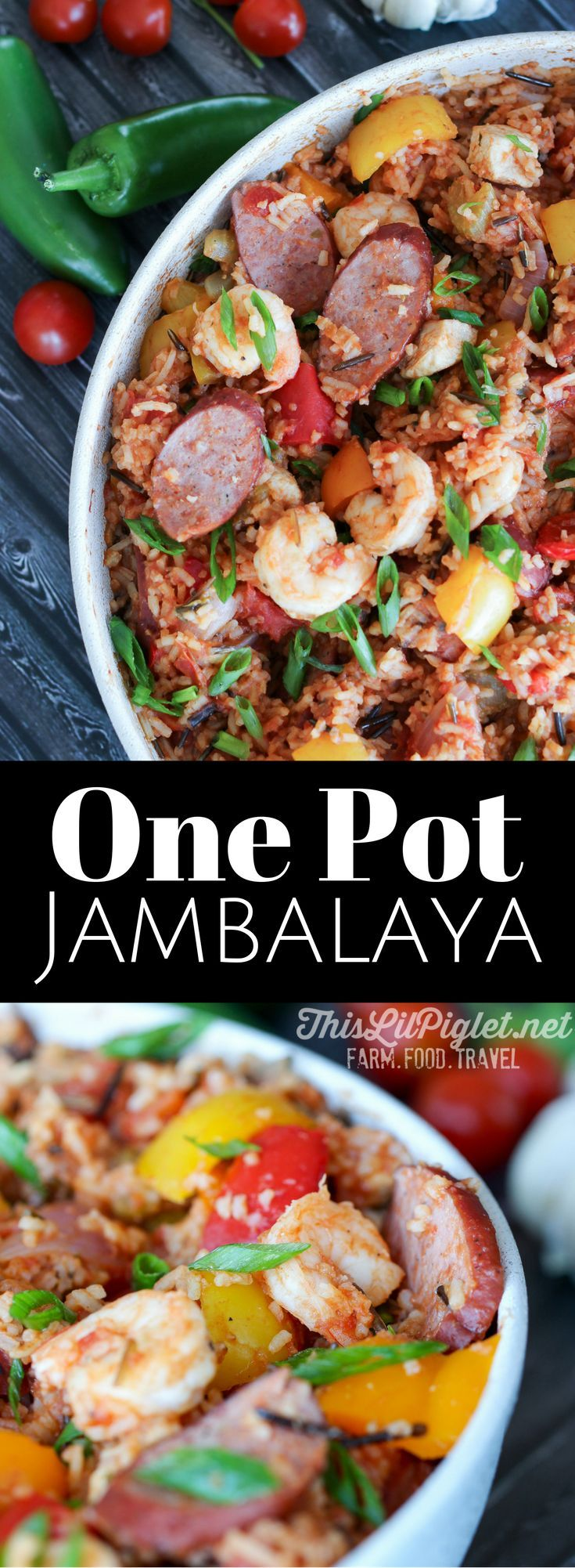 One Pot Meals: Jambalaya with Wild Rice, Chicken, Sausage and Shrimp - a delicious quick and easy meal idea // via @thislilpiglet
