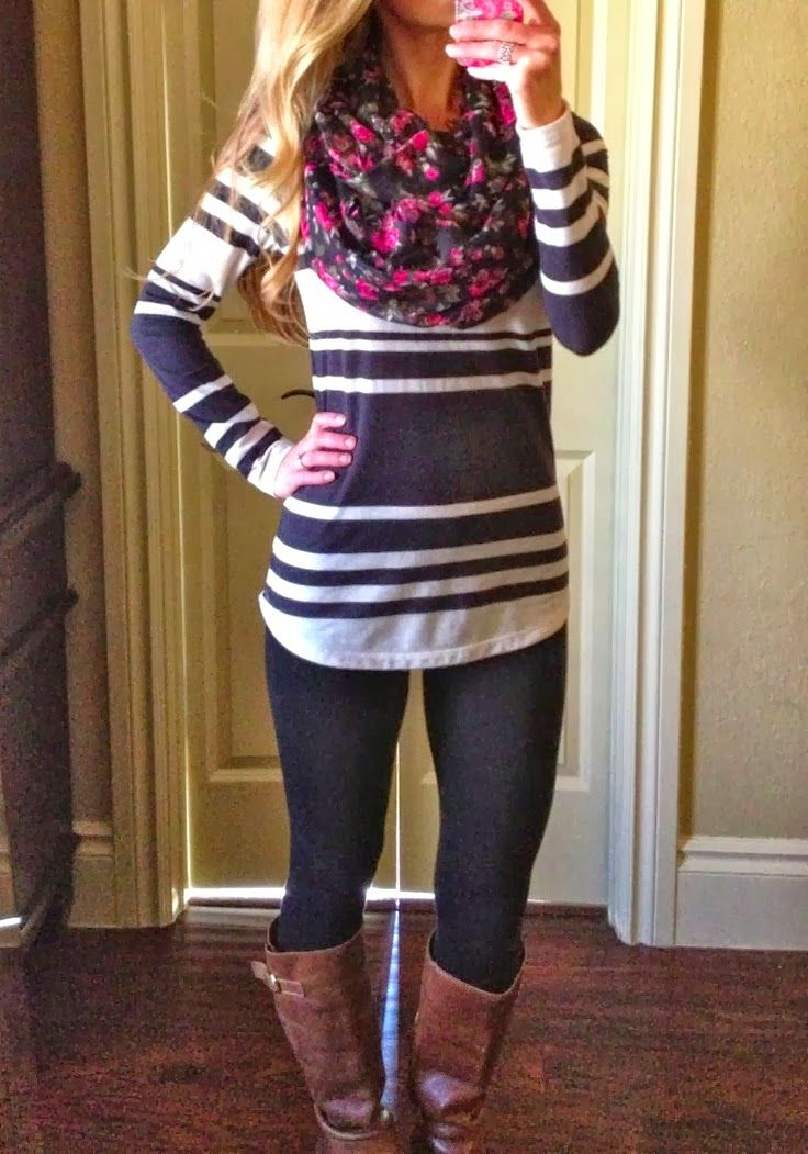Fall outfit with floral scarf...love the stripes and flowers together!