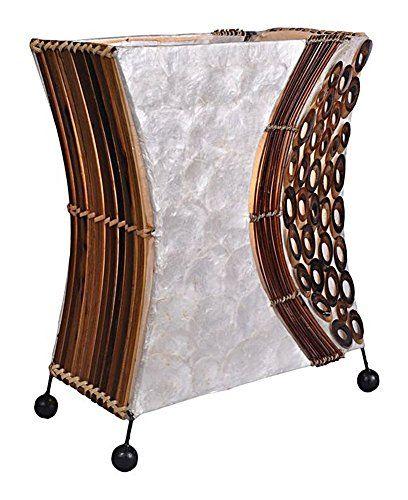 Stunning Design Lampe Dekoleuchte Wayan Tischleuchte eckig cm hoch aus Naturmaterialien Bambus braun und Capis