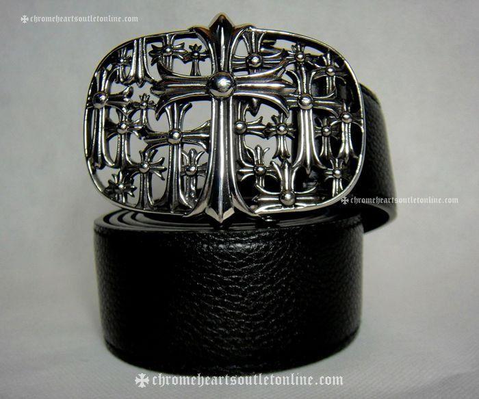 Shop Chrome Hearts Silver Multi Cross Black Leather Belt Online