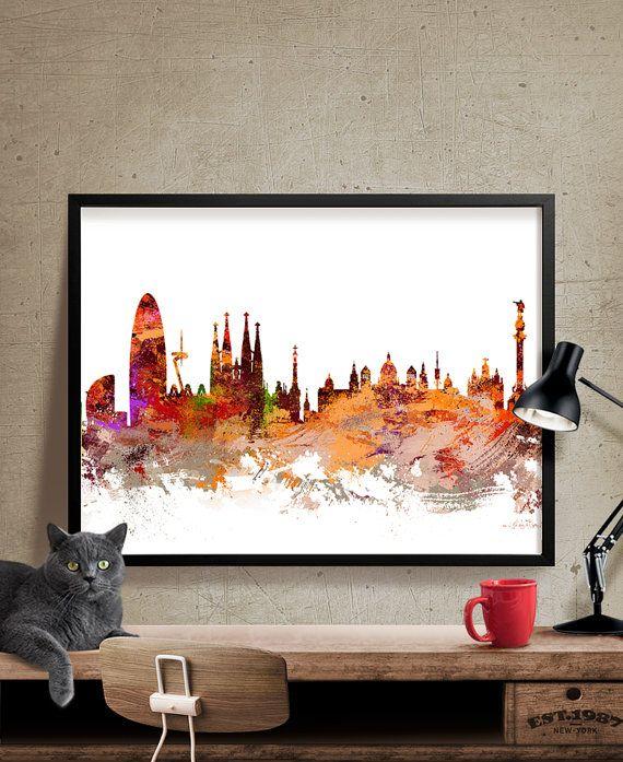Barcelona Spain Art , Barcelona Skyline Art Print, Abstract Art, Wall Art, Gift, Barcelona Skyline, Spain Cityscape, Wall Decor (172)