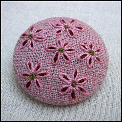 Embroidered button/brooch | by Birthine