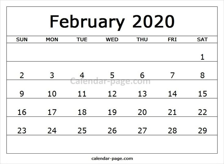 Print Free Monthly Calendar 2020 February