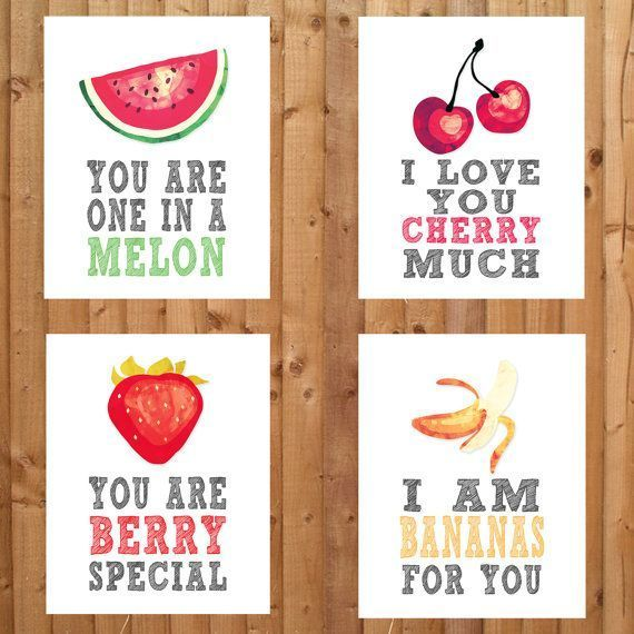 Fruit Themed Nursery Prints. You are one in a melon, I love you cherry a lot, I l