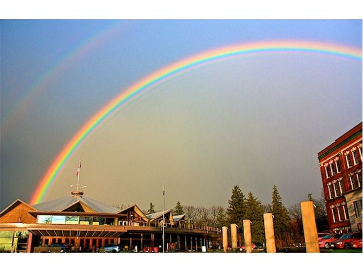 Rainbow over downtown Stratford, Ontario