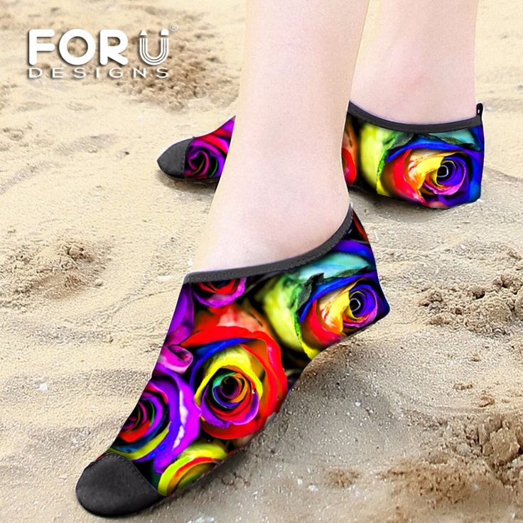 FORUDESIGNS Rose Swimming Fins Water Sports Slip on Men Women Surf Aqua Beach Water Socks Adult Diving Boots Wet Suit Shoes