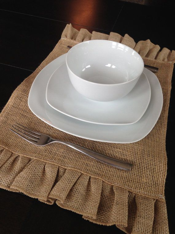 Burlap Placemat with Ruffle Edge by BurlapBarnShop on Etsy, $4.00