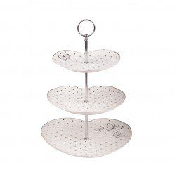 Miss Mandeville 3 Tier Cake Stand White with Silver Spots - Bombay duck