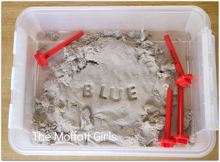 Stamping SIGHT WORDS into KINETIC SAND! A fun and inactive way to learn sight words!