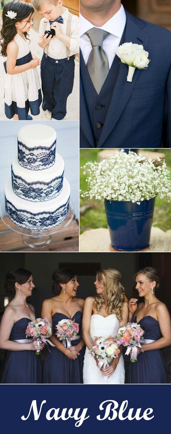 navy romântico e ideias branco casamento