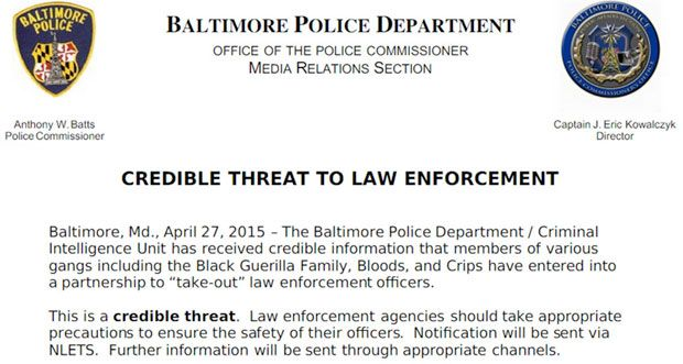 """BLACK GUERRILLA FAMILY, THE BLOODS AND THE CRIPS PLAN TO """"TAKE OUT"""" BALTIMORE COPS Resembles previous threat before execution of police in New York"""