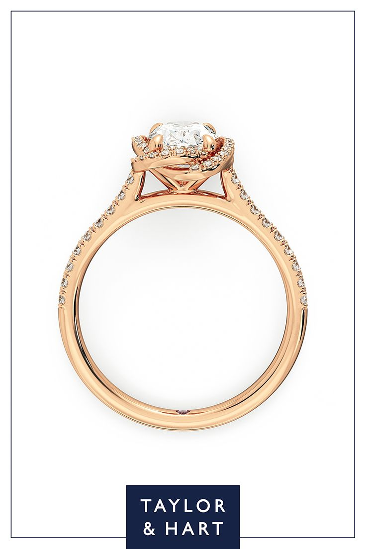 Be bold and daring with this dazzling  diamond pave engagement ring.The Entwine combines an oval diamond centre pave diamond halo set in 18ct rose gold. Why not repin to your own inspiration board? #engagement #engagementring #Pave #diamond #rosegold