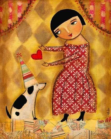 Puppy Love primitive folk art print 10x8 by tascha on Etsy