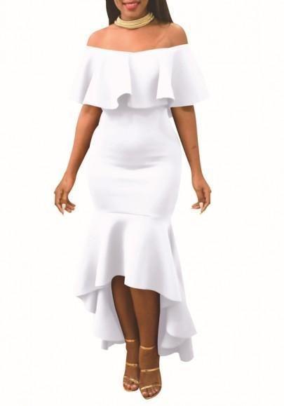 702466e7141 White Ruffle Boat Neck Off Shoulder Mermaid High-low Slim Elegant Maxi Dress