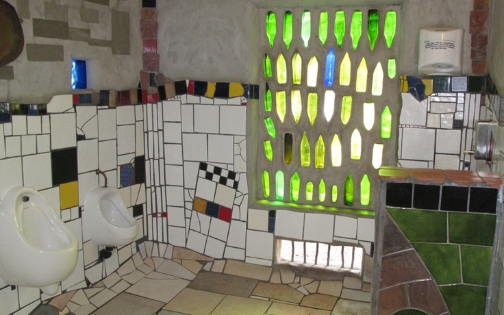 Interesting use of glass in the Hundertwasser toilet, Kerikeri, New Zealand,