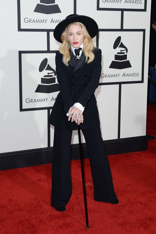 This look is crazy, but she's still the Queen. Madonna | Fashion On The 2014 Grammy Awards Red Carpet