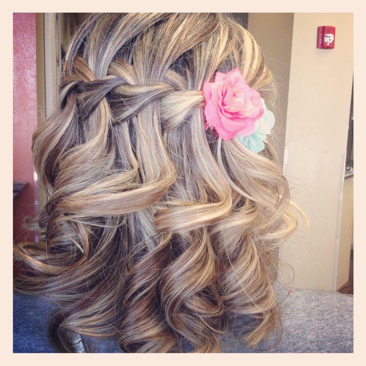WATERFALL BRAID - BRIDESMAID HAIR - gorgeous!!! Can I keep the curls going all day?