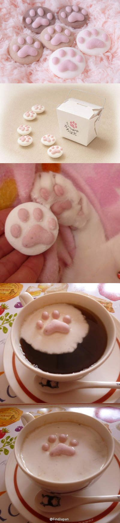 Japanese product...marshmallow around sugar paw print...marshmallow melts in hot beverage and sugar floats...very cute