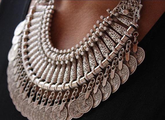 Ethnic Bohemian Style Custom Handmade Jewelry Women  Necklace Zamak Silver Plated Accessories