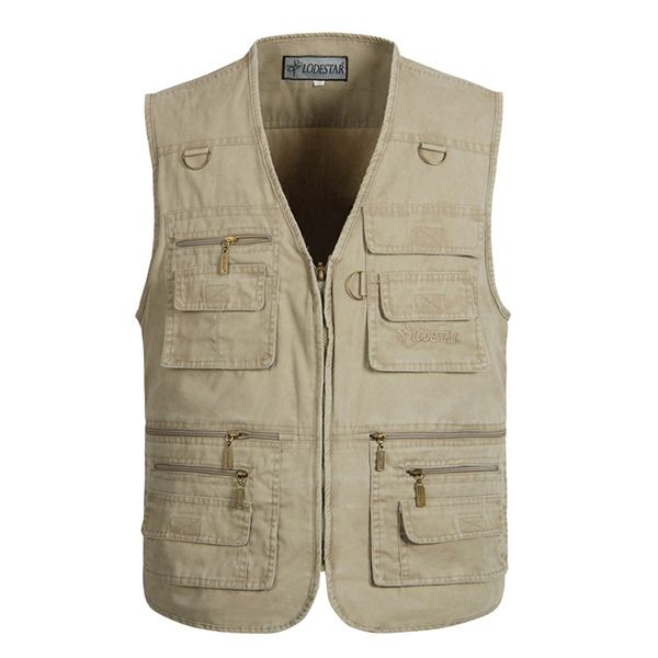 Mens Outdoor Fishing Solid Color Multi-pocket Photojournalist Cotton Vest Waistcoat Big Size M-5XL
