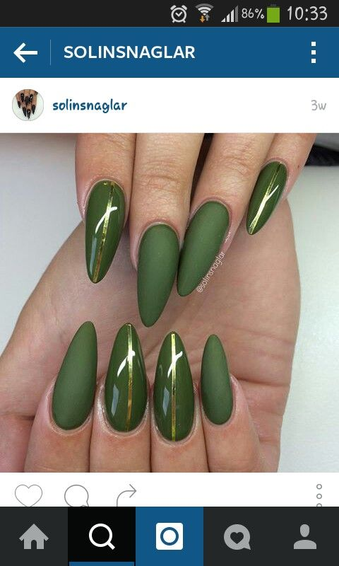 68 best green nails images on pinterest nail scissors belle olive green matte nails prinsesfo Choice Image