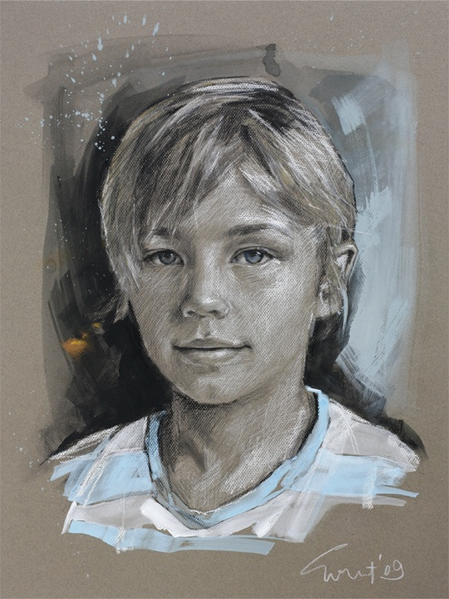 """'Gus' by Evert Ploeg. #Charcoal, #graphite, #white chalk, #watercolour on coloured board 45 x 60 cms (18 x 24"""")"""