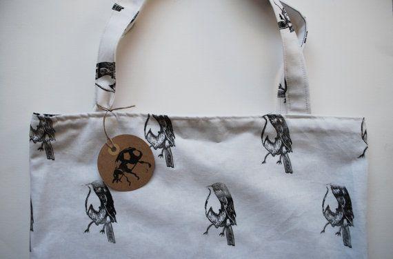 Block Printed Reversible Robin Tote Bag // White and Black