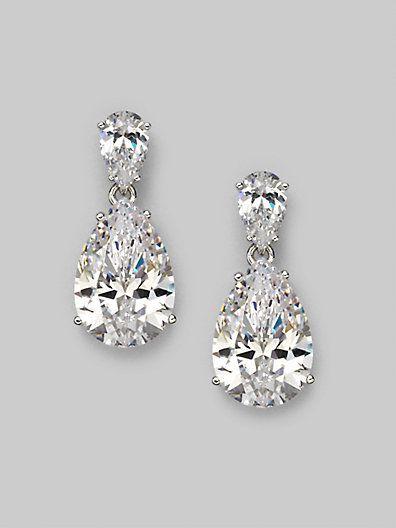 Adriana Orsini - Sterling Silver Pear Drop Earrings - Saks.com