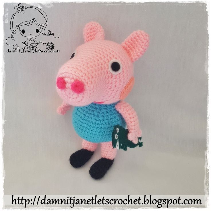 """gratis free:Peppa Pig's brother George Plushie My one year old just loves Peppa Pig. It's kinda hard finding boy related items of Peppa Pig. Decided that I should make him a George. Plus he's the perfect snuggly toy to cuddle with at night. SIZE/MEASUREMENTS approx. height from feet to ears 8"""""""