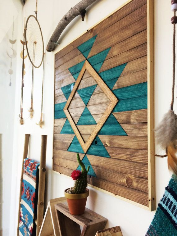 reclaimed wood wall art wooden wall art geometric wood art wooden wall art hanging modern wood art boho wood art wood wall decor - Native American Decor