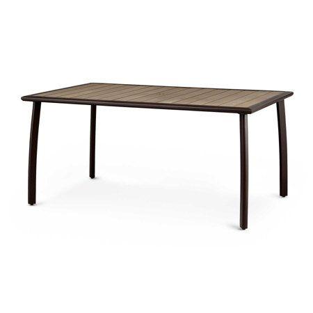 "60"" Faux Wood & Aluminum Table"