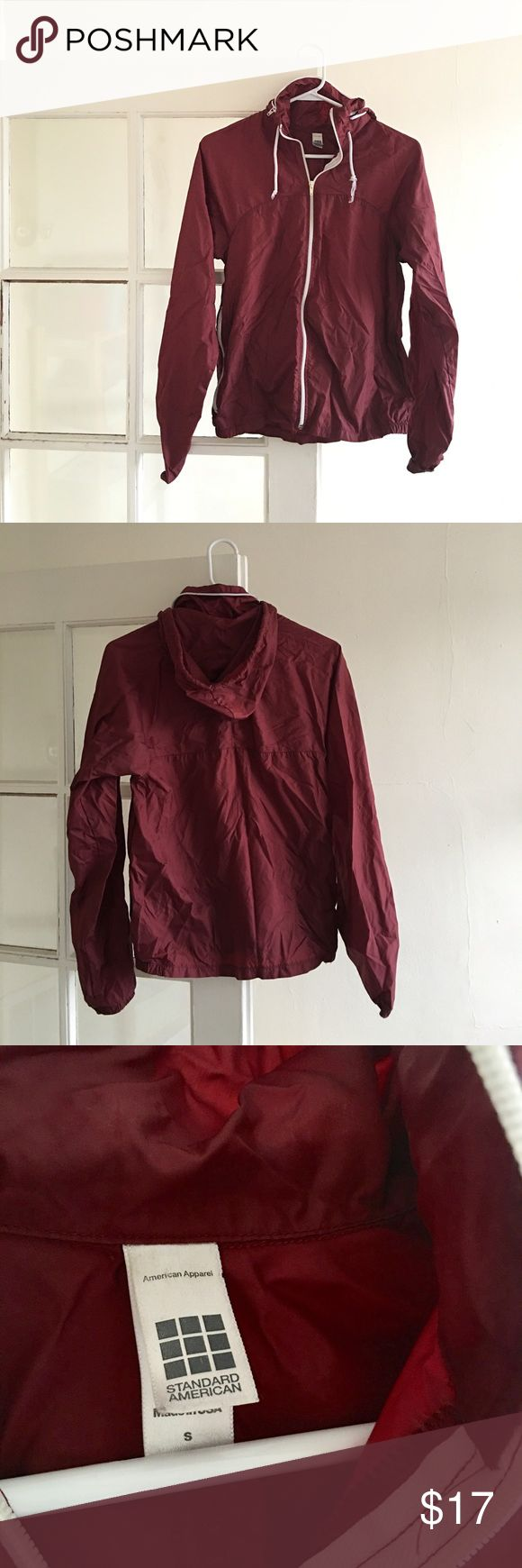 American Apparel Windbreaker American Apparel vintage burgundy windbreaker size small. 100% nylon. Very lightweight! Perfect for layering. Can also be turned into a fanny pack (snap enclosure is hidden inside the right pocket) American Apparel Jackets & Coats