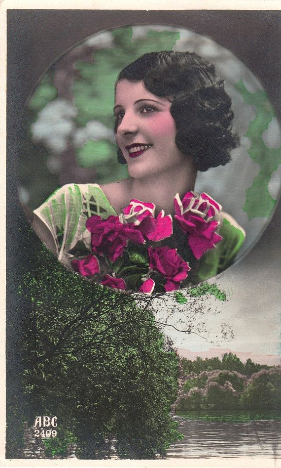 Vintage French Romantic woman postcard . by ParisBookandPaper