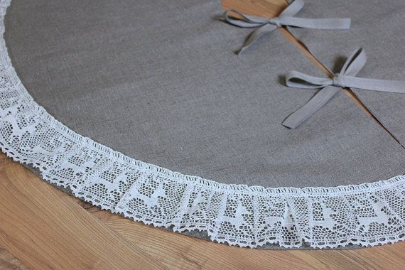 Linen burlap and Reindeer lace Tree skirt by KatysHomeDesigns