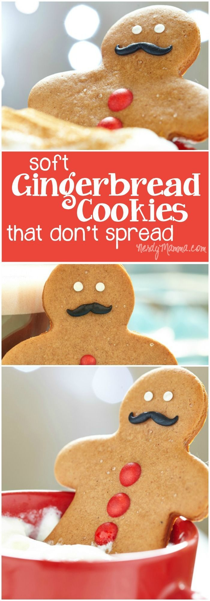 These gingerbread cookies are perfect for making gingerbread men! So soft, too. It's really hard to find a soft recipe for gingerbread cookies that don't spread...love it.
