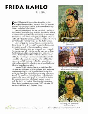 Middle School Social Studies Art History Worksheets: Frida Kahlo Biography