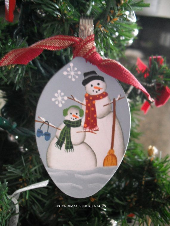 Mr. and Mrs. Snowman Spoon Ornament by CyndiMacsNickKnacks on Etsy