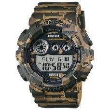Мужские спортивные часы Casio G-Shock GD-120CM-5E камуфляжного цвета. Корпус и ремень выполнены из высокопрочного пластика, сами часы противоударные и водонепроницаемые, в них можно спокойно погружаться на большую глубину с аквалангом.