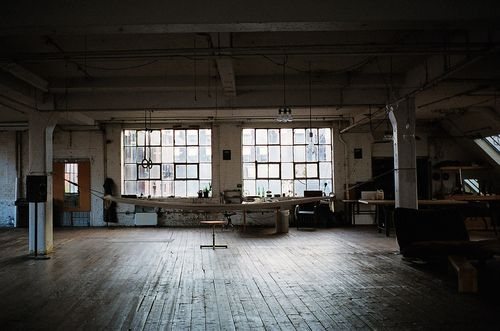 via Bohemian Homes  It looks like an old gym? So much space and so much light!