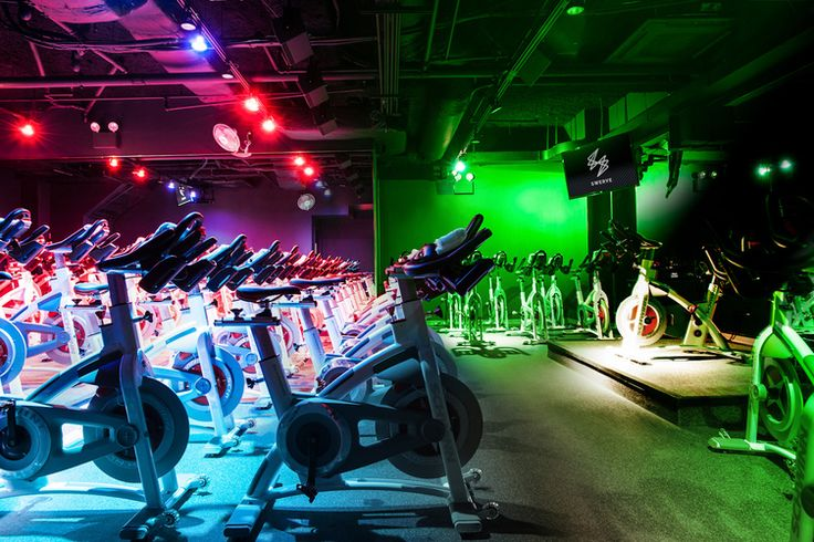 Swerve Fitness located in New York City. Classes are divided into three groups who compete for the highest overall energy output (or SWERVE score), which is measured by state-of-the-art tracking technology on the bikes.  #fitness #exercise #innovative