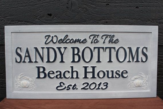 Beach House Sign Family Name Sign Carved by SmokyMountainSigns