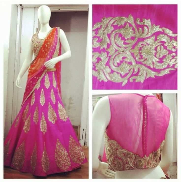 Colorful lehenga, pink and orange lehenga.