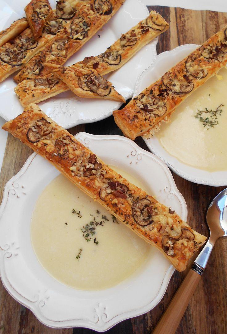 Kartoffel-Creme-Suppe mit Pilz-Käse-Stangen