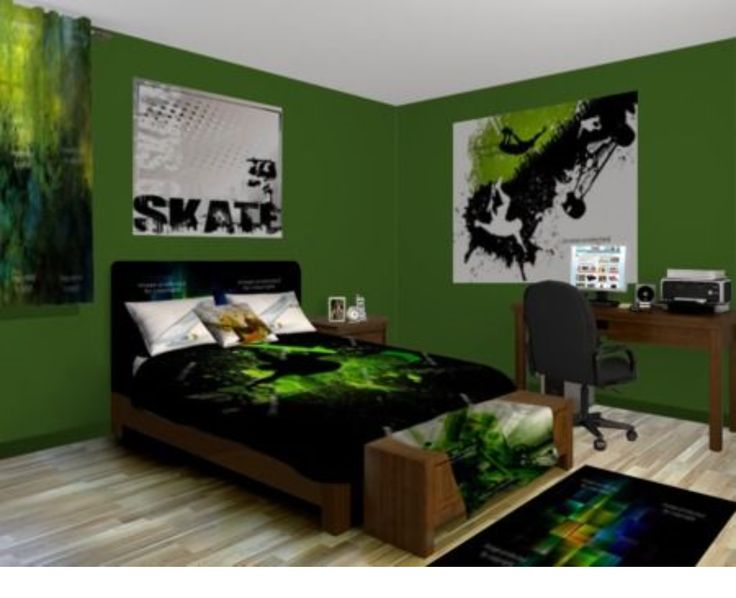 excellent black white teenage boys bedrooms | Skater room for a preteen boy. I love the green and black ...
