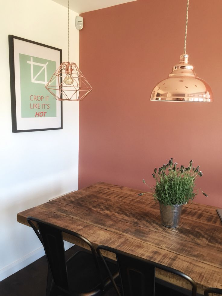 'Crop it like it's hot' print.  Dulux 'Copper Blush' wall. Dunelm Mill Copper Pendants.